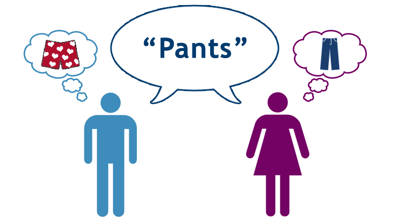 Two people think of different items when they hear the word pants